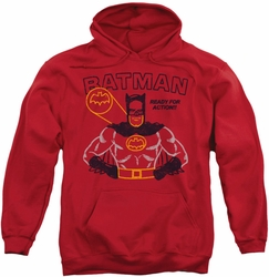 Batman pull-over hoodie Ready For Action adult red