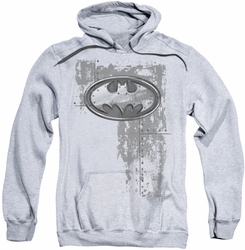 Batman pull-over hoodie Rivited Metal Logo adult athletic heather