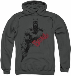 Batman pull-over hoodie Sketch Bat Red Logo adult charcoal