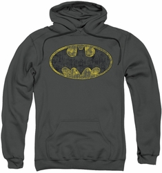 Batman pull-over hoodie Tattered Logo adult charcoal