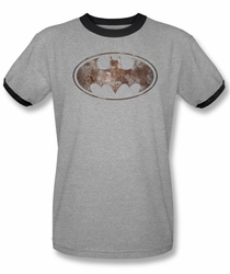 Batman ringer t-shirt Heavy Rust Logo adult heather black