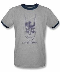 Batman ringer t-shirt I'm Batman adult heather navy
