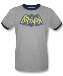 Batman ringer t-shirt Show Bat Logo adult heather navy