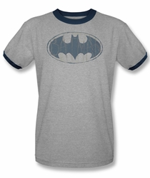 Batman ringer t-shirt Watch Sketch Logo adult heather navy