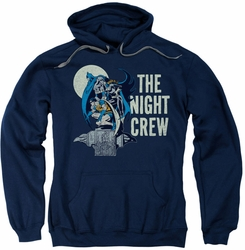 Batman Robin Batgirl pull-over hoodie Night Crew adult navy
