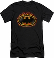 Batman slim-fit t-shirt Bat Flames Shield mens black