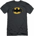 Batman slim-fit t-shirt Destroyed Logo mens charcoal