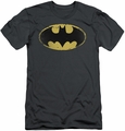 Batman slim-fit t-shirt Distressed Shield mens charcoal