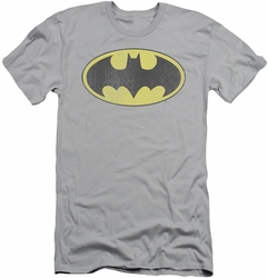 Batman slim-fit t-shirt Retro Bat Logo Distressed mens silver