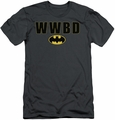Batman slim-fit t-shirt What Would Batman Do Logo mens charcoal