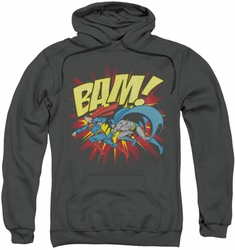 Batman Superman pull-over hoodie Bam adult charcoal