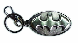 Batman Symbol Pewter Keychain in Silver