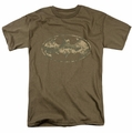 Batman t-shirt Army Camo Shield mens safari green