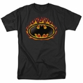Batman t-shirt Bat Flames Shield mens black