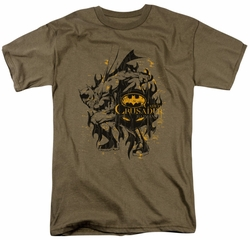 Batman t-shirt Be Afraid mens safari green