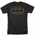 Batman t-shirt Black & Gold Embossed Shield mens black