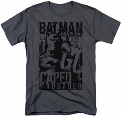 Batman t-shirt Caped Crusader mens charcoal