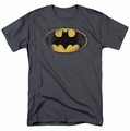 Batman t-shirt Destroyed Logo mens charcoal