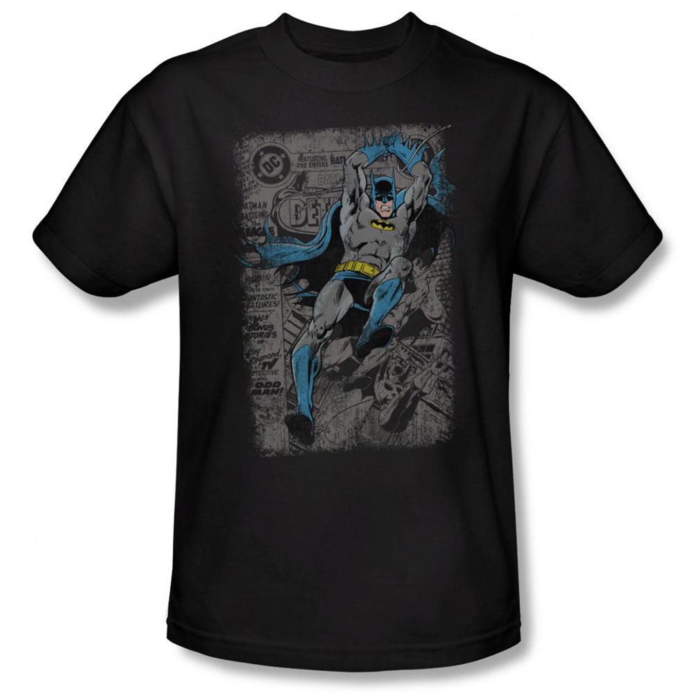 batman t shirt detective 487 distress mens black. Black Bedroom Furniture Sets. Home Design Ideas