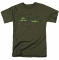 Batman t-shirt Distressed Camo Shield mens military green