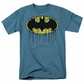 Batman t-shirt Dripping Brick Wall Shield mens slate