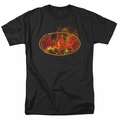 Batman t-shirt Flames Logo mens black