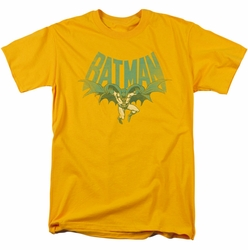 Batman t-shirt Flying Bat mens gold