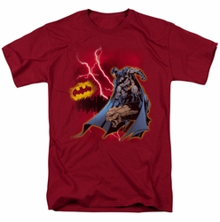 Batman t-shirt Lightning Strikes mens cardinal