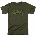 Batman t-shirt Marine Camo Shield mens military green