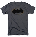 Batman t-shirt Spray Paint Logo mens charcoal