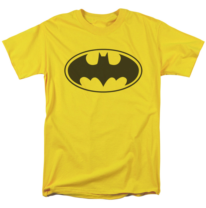 batman t shirt yellow bat mens yellow. Black Bedroom Furniture Sets. Home Design Ideas