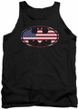 Batman tank top American Flag Oval adult black