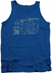 Batman tank top Batmobile adult royal blue