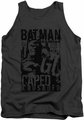 Batman tank top Caped Crusader adult charcoal