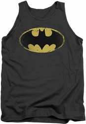 Batman tank top Distressed Shield adult charcoal