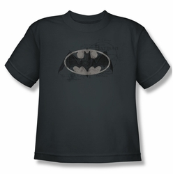 Batman youth teen t-shirt Arcane Bat Logo charcoal