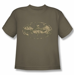 Batman youth teen t-shirt Army Camo Shield safari green