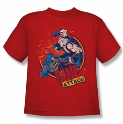 Batman youth teen t-shirt Bane Attack! red