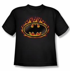 Batman youth teen t-shirt Bat Flames Shield black