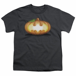 Batman youth teen t-shirt Bat Pumpkin Logo charcoal
