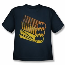 Batman youth teen t-shirt Bat Signal Shapes navy