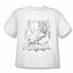 Batman youth teen t-shirt Bat Sketch white