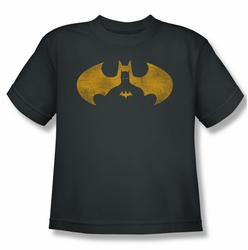 Batman youth teen t-shirt Bat Symbol Knockout charcoal