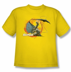 Batman youth teen t-shirt Batarang Shot yellow