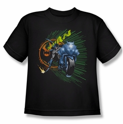 Batman youth teen t-shirt Batcycle black