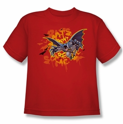 Batman youth teen t-shirt Bats Don't Scare Me red
