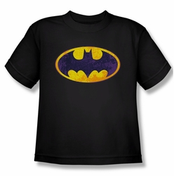 Batman youth teen t-shirt Bm Neon Distress Logo black
