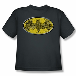 Batman youth teen t-shirt Celtic Shield charcoal