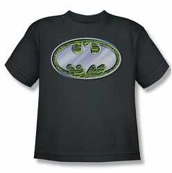 Batman youth teen t-shirt Circuits Logo charcoal