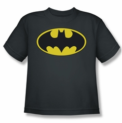 Batman youth teen t-shirt Classic Bat Logo charcoal